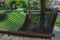 Hamac vide sur une station balnéaire à Montego Bay et les boissons de transport de parapluie de serveuse photographie stock libre de droits
