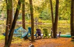 Hamaca en bosque del otoño y mirada de un río de movimiento lento, fresco fotos de archivo