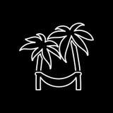 Hamaca en icono de la palma Playa e illustratio del vector del icono de las vacaciones stock de ilustración