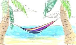Hamaca entre las palmas Océano, costa de la arena y hamaca en las palmas Fotografía de archivo libre de regalías