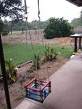 Back yard. Hamaca kids play Stock Images