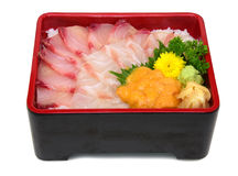 Hamachi Madai Uni Don: Japończyk Donburi z mieszanym surowej ryba iso Obrazy Royalty Free