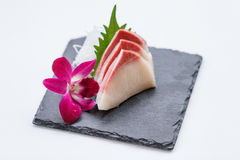 Hamachi Sashimi : Sliced Raw Hamachi Yellowtail Fish Served with Sliced Radish on Stone Plate.  Stock Photos