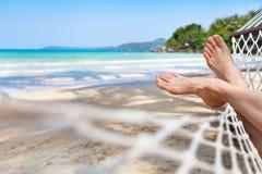 Hamak na pięknej raj plaży Fotografia Royalty Free