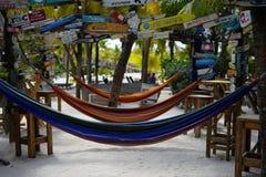 Hamaki przy Mambo plażą Curacao zdjęcie royalty free
