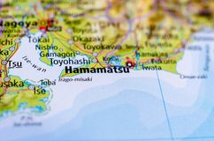 Hamamatsu on map Royalty Free Stock Photo
