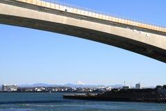Hamana bridge, Hamanako lake and Mt. Fuji in Hamamatsu, Shizuoka, Japan royalty free stock images