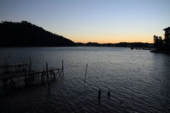 Hamanako湖在滨松,在黎明前的静冈 免版税库存照片
