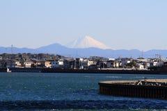 Hamanako sjö och Mt Fuji från Hamamatsu, Shizuoka Arkivbild