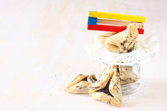 Hamantaschen曲奇饼或hamans耳朵普珥节庆祝和发出大声音的人的 免版税库存图片