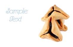 Hamantaschen曲奇饼或hamans耳朵普珥节庆祝的。隔绝 库存图片