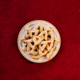 Hamantaschen Cookies. Traditional hamentaschen cookies for the Jewish festival of Purim Stock Photography
