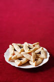 Hamantaschen Cookies. Traditional hamentaschen cookies for the Jewish festival of Purim Stock Photos