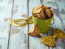 Hamantaschen cookies with carnival mask Stock Image
