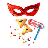 Hamantaschen cookies , grogger and carnival mask on white background Royalty Free Stock Photo