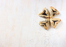 Hamantaschen cookies or hamans ears for Purim holiday celebration . top view. Stock Photography
