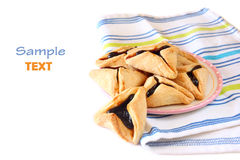 Hamantaschen cookies for Purim celebration isolated on white Royalty Free Stock Photography