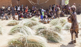 Hamar people at village market. Turmi. Lower Omo Valley. Ethiopia. Stock Photo