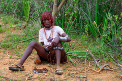 Hamar woman dancer prepares for wedding in the Omo valley in Sou. Th Ethiopia, Africa Stock Images