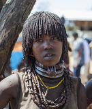 Hamar woman seller at village market. Lower Omo Va Royalty Free Stock Images