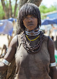 Hamar woman seller at village market. Turmi. Lower Omo Valley. Ethiopia Stock Photos