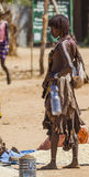 Hamar woman seller at village market. Turmi. Lower Omo Valley. Ethiopia. Stock Photo
