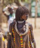 Hamar woman at village market. Turmi. Lower Omo Va Royalty Free Stock Images