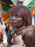 Hamar woman at village market. Turmi. Lower Omo Valley. Ethiopia. Royalty Free Stock Photo