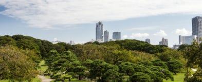 Hamarikyu Gardens, Tokyo. City centre stock images