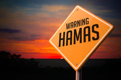Hamas on Warning Road Sign Royalty Free Stock Photos