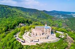 Hambacher Schloss ou château de Hambach, vue aérienne Le Rhénanie-Palatinat, Allemagne photographie stock libre de droits