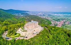 Hambacher Schloss ou château de Hambach, vue aérienne Le Rhénanie-Palatinat, Allemagne images libres de droits