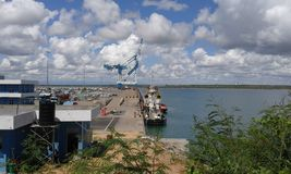 Hambanthota harbour with mobile capture stock photography