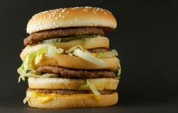 Hambeurger over black Stock Images