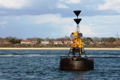 The hamble point south cardinal marker floating in the solent Stock Images