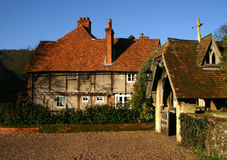 Hambleden Village. Rustic cottage and Church Entrance Porch in the Buckinghamshire village of Hambleden UK Stock Photo