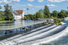 Hambleden Weir on the River Thames. The  River Thames flowing over the weir at Hambleden, Berkshire, England, UK Stock Photo
