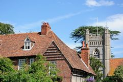 Hambledon church and cottage. Royalty Free Stock Photos