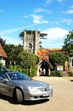 Hambledon Church and Mercedes Car. Stock Images