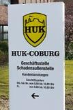 Hambourg, Allemagne - 23 mars : Fermez-vous du signe de Huk Coburg Insurance Company le 23 mars 2015 à Hambourg Photographie stock