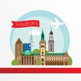 Hambourg a détaillé la silhouette Illustration à la mode de vecteur, Photos libres de droits