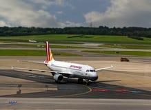 HAMBOURG ; L'ALLEMAGNE ; LE 27 JUILLET 2016 : Avions des germanwings au Photos stock
