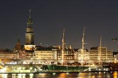 Hambourg la nuit Photo stock