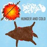 Hambre y frío - tarjeta, fondo ilustración del vector