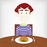 Hambriento adolescente para una hamburguesa. stock de ilustración