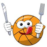 Hambriento divertido del cuchillo de la bifurcación del carácter de la historieta de la bola del baloncesto aislado ilustración del vector