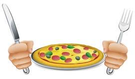 Hambriento para la pizza stock de ilustración