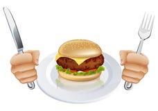 Hambriento para una hamburguesa stock de ilustración