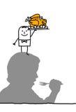 Hambriento y pollo stock de ilustración