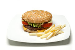 Hambuger on dish Royalty Free Stock Photo